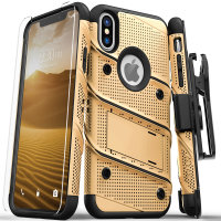 Zizo Bolt iPhone XS Max Tough Case & Screen Protector - Goud / Zwart