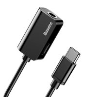 Baseus USB-C To USB-C & 3.5mm Audio Aux Adapter - Black