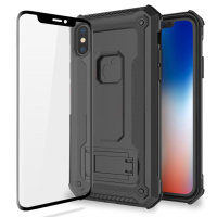 Olixar Manta iPhone X Tough Case with Tempered Glass - Black