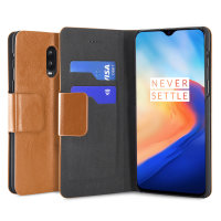 Olixar Leather-Style Oneplus 6T Wallet Stand Case - Tan