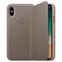 Offizielle Apple iPhone XS Leder Folio Wallet Tasche - Taupe