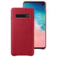 Official Samsung Galaxy S10 Leather Cover Case - Red