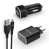 Promate 3-in-1 Charging Kit W/ QC USB-C Cable, Car Charger & EU Plug