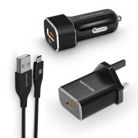 Promate 3-in-1 Charging Kit W/ QC USB-C Cable, Car Charger & UK Plug