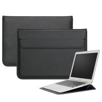 """Olixar Leather-Style Universal 13"""" Laptop Sleeve With Stand - Black"""
