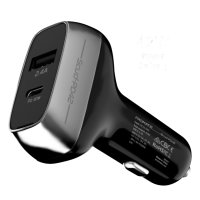 Promate Power Delivery 42W Dual USB-C Port Car Charger - Black