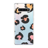 LoveCases Samsung Galaxy S10 Plus Coloured Leopard Clear Phone Case