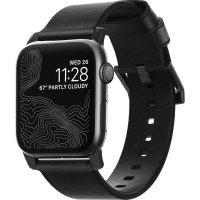 Nomad Apple Watch Strap- 44mm/42mm Black Leather- Black Hardware