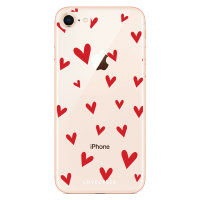 LoveCases iPhone 8 Plus Hearts Phone Case - Clear Red