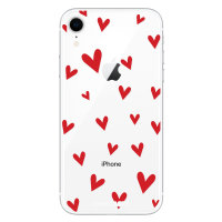 LoveCases iPhone XR Hearts Phone Case - Clear Red