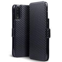 Olixar Carbon Fibre Texture Samsung Galaxy A70 Wallet Case - Black