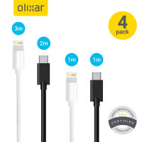 Pack de 4 cables Olixar USB-C y Lightning