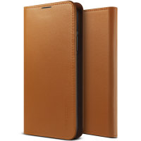 VRS Design Genuine Leather Diary Samsung Note 10 Plus Case - Brown