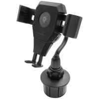 Macally Qi Wireless Fast Charge Car Cup Phone Holder Mount - Black