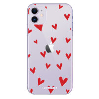 LoveCases iPhone 11 Hearts Phone Case - Clear Red