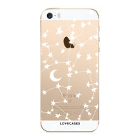 LoveCases iPhone SE Gel Case - White Stars And Moons
