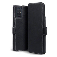 Olixar Slim Genuine Leather Samsung Galaxy A71 Wallet Case - Black