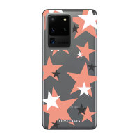 LoveCases Samsung Galaxy S20 Ultra Pink Star Clear Phone Case