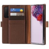 VRS Genuine Leather Stand Samsung Galaxy S20 Ultra Folio Case - Brown