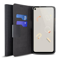 Olixar Leather-Style Google Pixel 4a Wallet Stand Case - Black