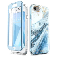 i-Blason Cosmo iPhone 7 / 8 Slim Case & Screen Protector - Marble Blue