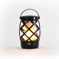 Auraglow Hanging Realistic Flame Camping Lantern - Black