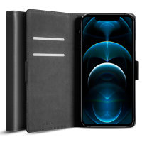 Olixar Genuine Leather iPhone 12 Pro Max Wallet Case - Black