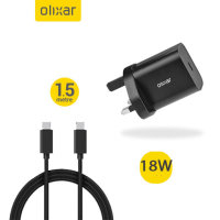 Olixar 18W USB-C PD Fast Wall Charger W/ 1.5m USB-C To C Cable - Black