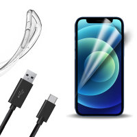 Olixar Essential iPhone 12 Case, Screen Protector & Cable Pack