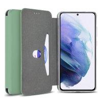 Olixar Silicone Samsung Galaxy S21 Wallet Case - Pastel Green