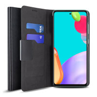 Olixar Leather-Style Samsung Galaxy A52 Wallet Stand Case - Black