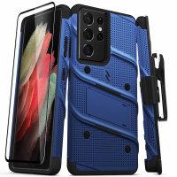 Zizo Bolt Samsung Galaxy S21 Ultra Tough Case & Screen Protector- Blue