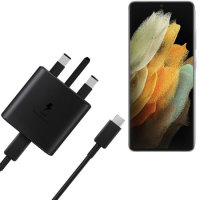 Official Samsung S21 Ultra 25W Fast Wall Charger & USB-C to C 1m Cable