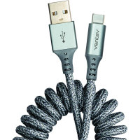 Ventev Helix USB-C Tough Braided Extendable Charging Cable - Grey - 1m
