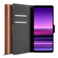 Olixar Genuine Leather Sony Xperia 1 III  Wallet Stand Case - Brown