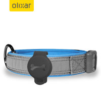 Olixar Nylon Adjustable Pet Collar With AirTags Holder - Grey / Blue
