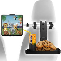 Macally Universal Tablet Headrest Mount With Tray Table & Cup Holder