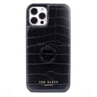 Ted Baker Half Wrap iPhone 13 Pro Max Finger Loop Case - Croc Black