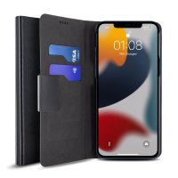 Olixar Leather-Style iPhone 13 mini Wallet Stand Case - Black