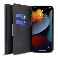 Olixar Leather-Style iPhone 13 Pro Wallet Stand Case - Black