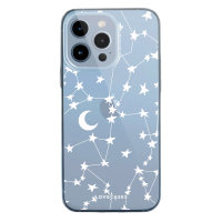 LoveCases iPhone 13 Pro Max Gel Case - White Stars and Moons