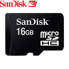 Deze kleine SanDisk 16GB transflash Micro SD memory card is perfect om foto's, muziek en video op te slaan.