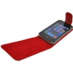 iPhone 4S / 4 Leather Style Flip Case - Red
