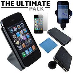 Das Ultimate Pack iPhone 4S Zubehör Set in Schwarz