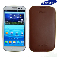 Genuine Samsung Galaxy S3 Pouch - Dark Brown - EFC-1G6LDECSTD