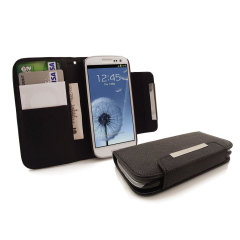 Keep your S3 protected in this stylish, black, leather style wallet case.