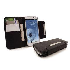 Funda cuero tipo cartera para Samsung Galaxy S3 - Negra