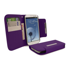Leather Style Wallet Case for Samsung Galaxy S3 - Purple