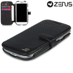 Custodia in pelle Serie Prestige Leather Diary di Zenus per Samsung Galaxy S3 - Nero