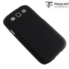Metal-Slim Protective Case For Samsung Galaxy S3 - Black Rubber